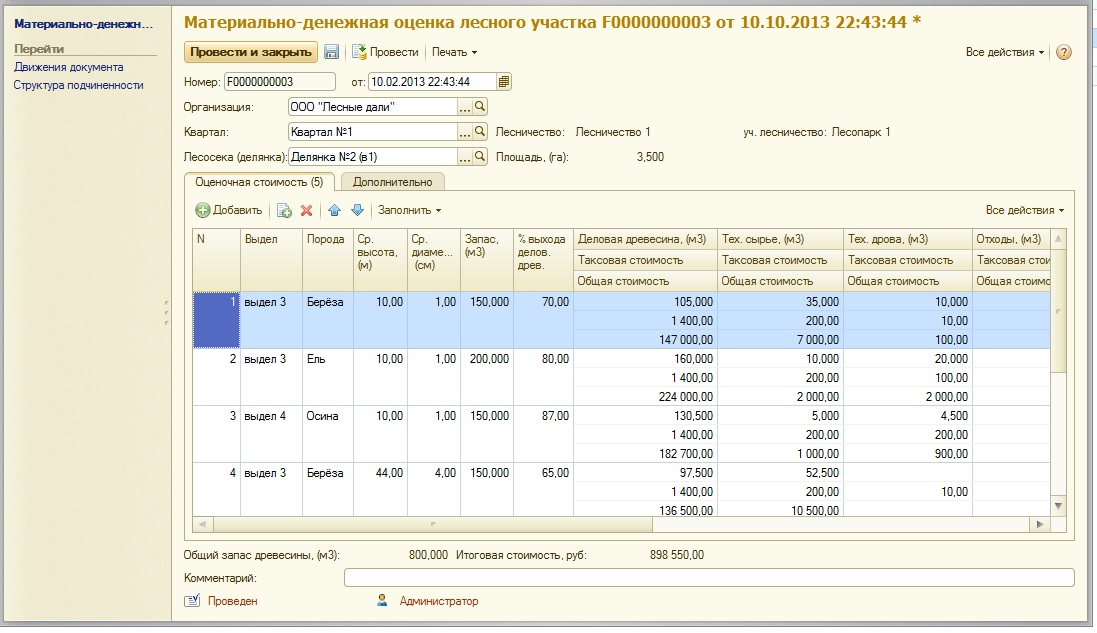 Материально-денежная оценка